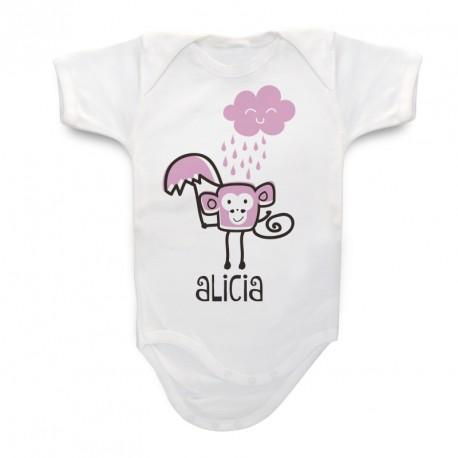 Body beb personalizado monito for Vajillas bebe personalizadas