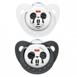 Pack 2 chupetes Nuk de Mickey blanco y negro