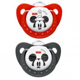 Pack 2 chupetes Nuk de Mickey rojo y negro