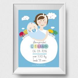 Lámina de Nacimiento SuperAbrazo para chico