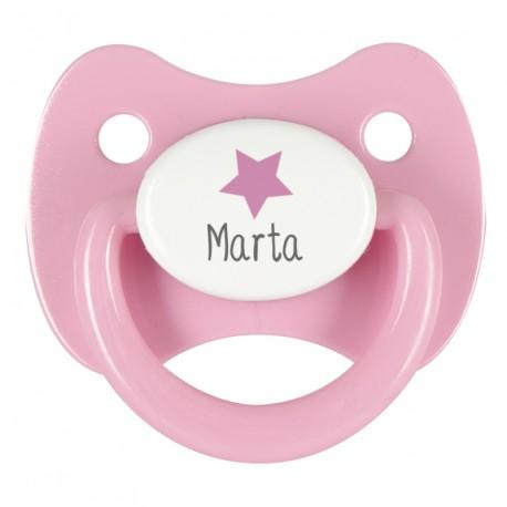 Chupete personalizado estrella rosa