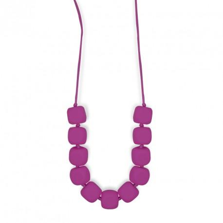 Collar de lactancia rojo violeta con cuentas cuadradas