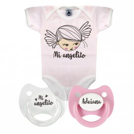 Pack body personalizado mi angelito rosa