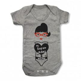 Body gris personalizado Mi super Mami