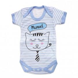 Body Bebé rayitas Personalizado gatito