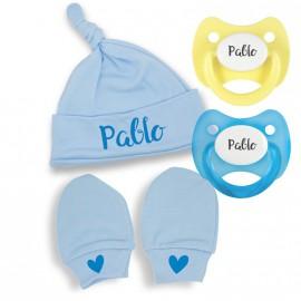 Pack de Nacimiento manoplas, gorrito y chupetes