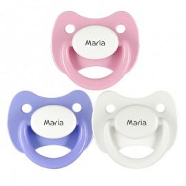 3 Chupetes Personalizados: Rosa tapa blanca, Lila tapa blanca y Blanco