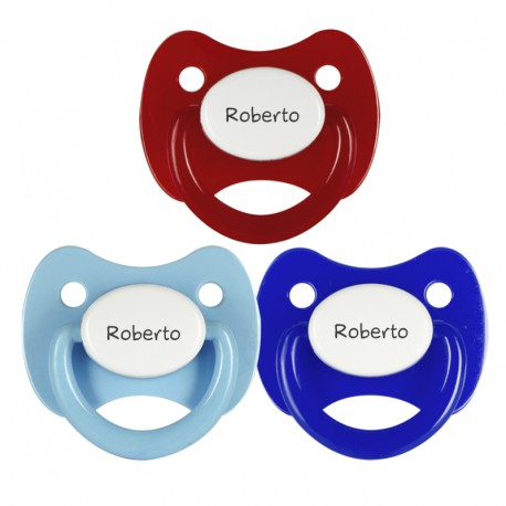 3 Chupetes Personalizados: Rojo tapa blanca, Azul tapa blanca y Celeste tapa blanca