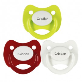 3 Chupetes Personalizados: Blanco, Rojo tapa blanca y Verde Limón tapa blanca