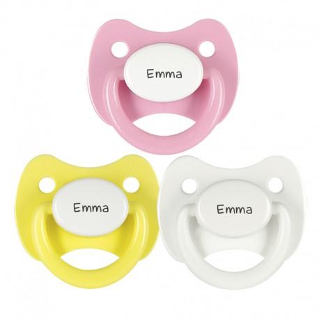 3 Chupetes Personalizados: Blanco, Amarillo tapa blanca y Rosa tapa blanca