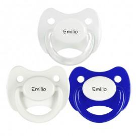3 Chupetes Personalizados: Blanco, Blanco anilla transparente y Azul tapa blanca