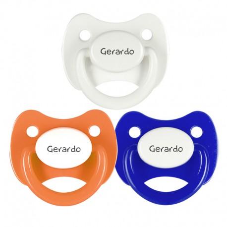 3 Chupetes Personalizados: Naranja, azul y blanco