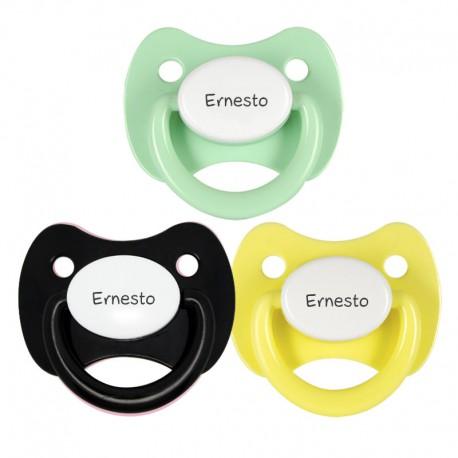 3 Chupetes Personalizados: Negro, Verde agua y Amarillo