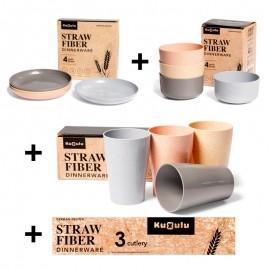 Pack Platos + Cuenco + Vasos + Cubierto trigo