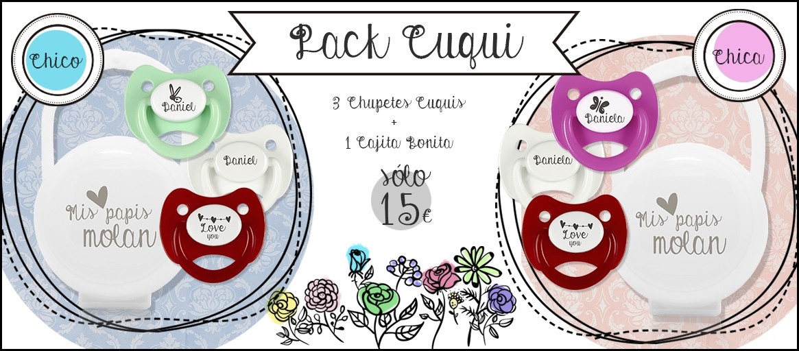 Pack Chupetes Personalizados Cuquis